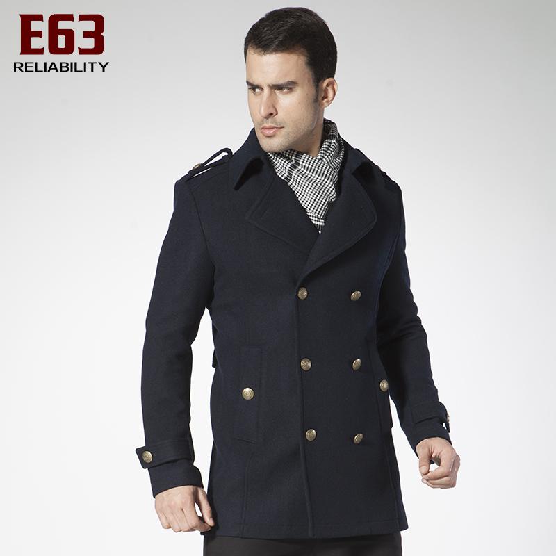 Пальто мужское E63 Кашемир из овечьей шерсти для пальто Отложной воротник