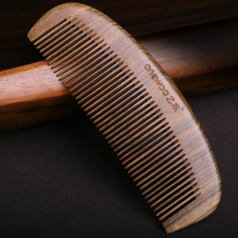 绿檀木梳子顺发卷发木头梳子防静电防脱发檀香牛角梳平头美发密齿