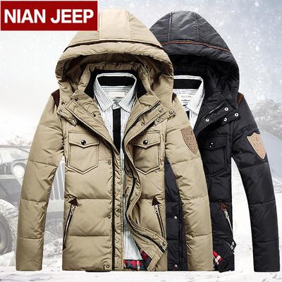 专柜正品吉普盾NIANJEEP羽绒服冬季新品男士加厚羽绒服男短款修身