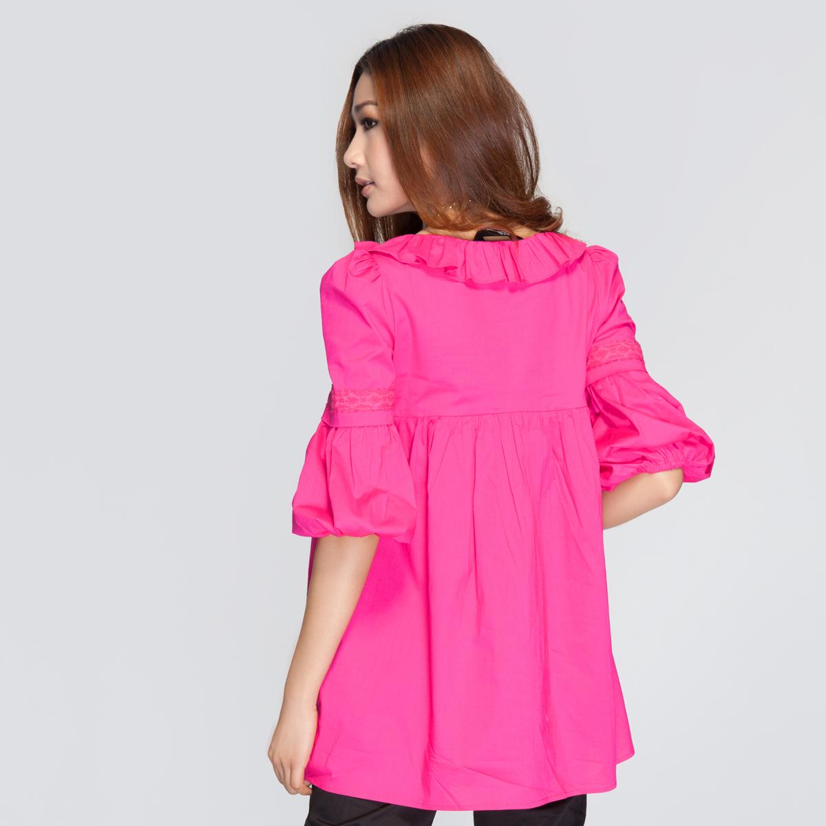 женская рубашка OSA sc10241 O.SA2011 97 Однотонный цвет Бантик бабочкой Круглый воротник