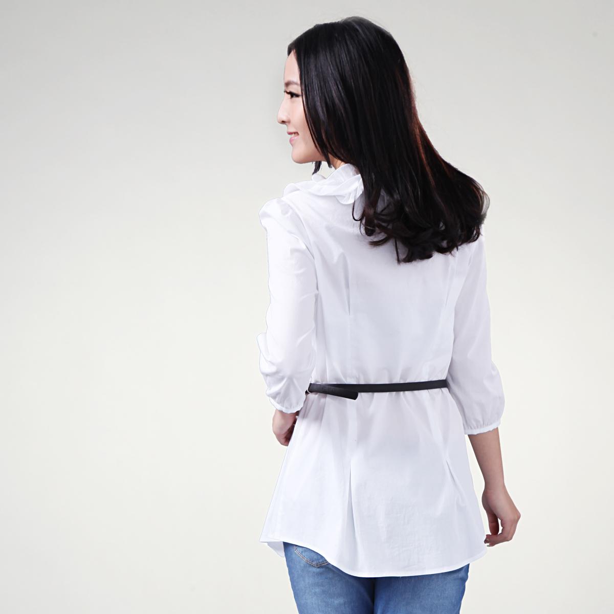 женская рубашка OSA sc10022 O.SA2011 Casual Однотонный цвет Оборка Круглый воротник