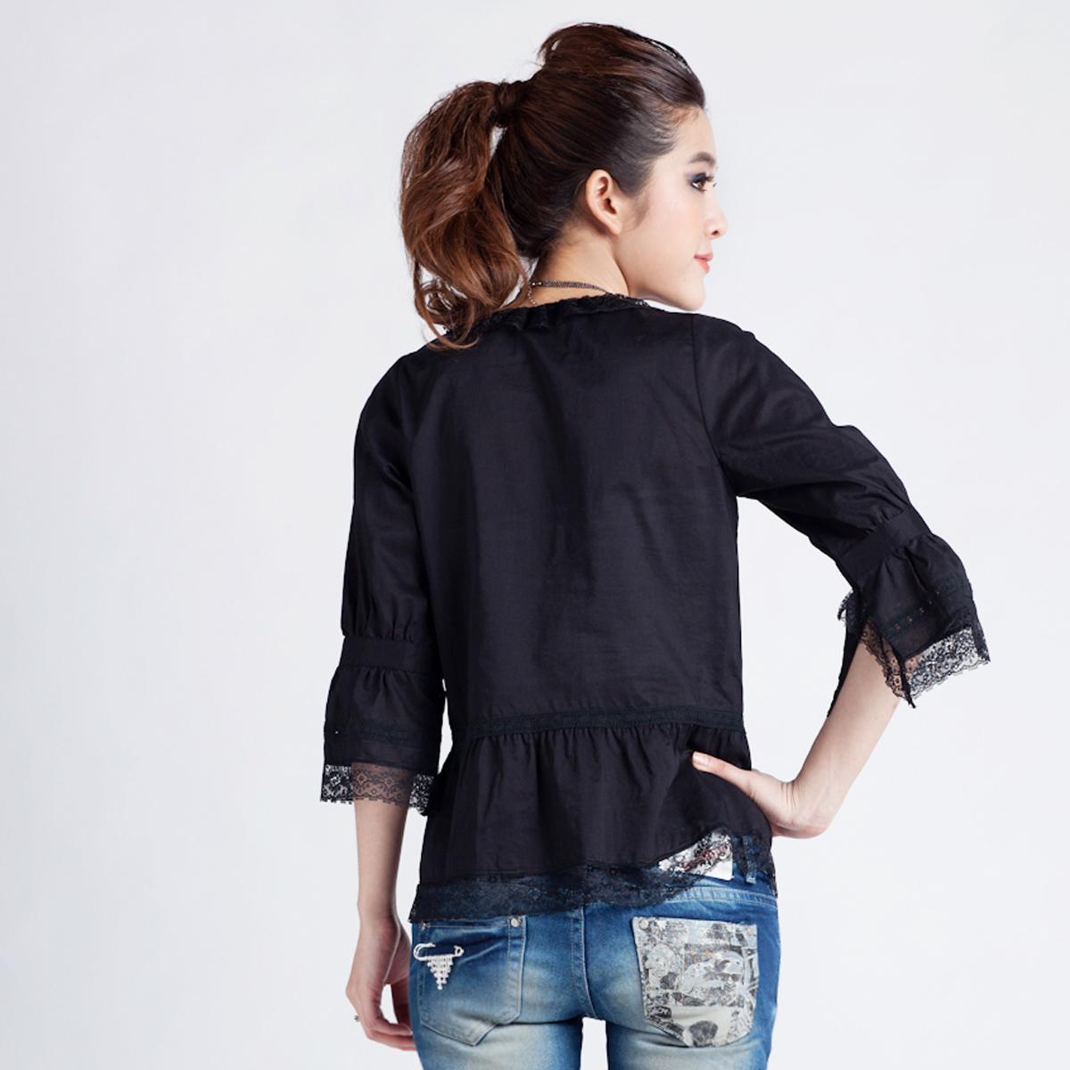женская рубашка OSA sc10278 O.SA2011 Casual Однотонный цвет Закругленный вырез