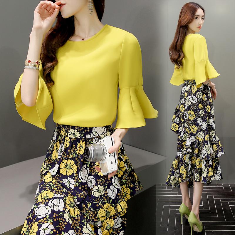 2016夏装新款女装两件套韩版气质连衣裙中长款印花裙子显瘦套装裙