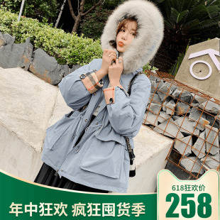 2019反季特卖羽绒服女韩国时尚宽松加厚大毛领短款外套潮