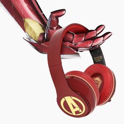 漫威联名钢铁侠蓝牙耳机头戴式重低音降噪头戴式耳麦无线双耳运动音乐游戏手机电脑男女通用复仇者联盟