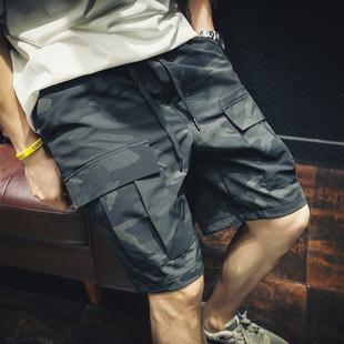 夏季薄款迷彩工装短裤男宽松潮牌ins大码五分裤胖子潮流休闲中裤