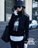 欧洲站香港明星张天爱卡通印花假两件针织衫高领毛衣女