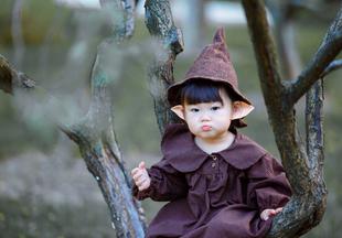 叁莯羊毛毡原创儿童摄影道具手工森系精灵巫师魔法帽子m014