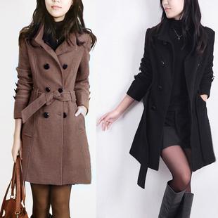 2014秋冬装毛呢外套女中长款加绒加厚呢子大衣潮