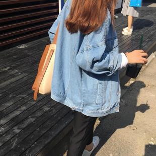 牛仔外套女春秋季2019学生宽松bf原宿上衣百搭短款薄夹克