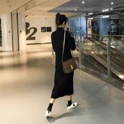 黑色内搭长袖打底针织连衣裙秋冬装2018女中长款过膝裙子