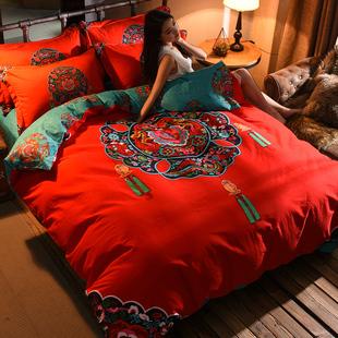 全棉磨毛新婚喜被四件套大红色婚庆床品纯棉床单被套结婚床上用品