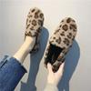 毛毛鞋女秋冬保暖加绒懒人一脚蹬豹纹平底棉鞋网红外穿丑鞋女