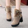 短靴女秋冬季粗跟高跟马丁靴保暖加绒百搭女鞋带毛毛靴子