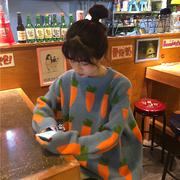 2018秋冬宽松慵懒风胡萝卜厚实网红套头毛衣针织衫外套女