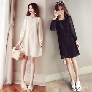 春季长袖T恤宽松显瘦上衣女中长款雪纺拼接欧根纱打底衫