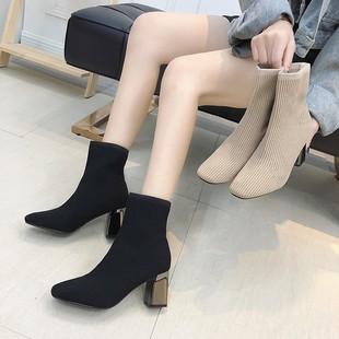 鞋子女2018女鞋冬马丁靴女方头瘦瘦靴针织弹力袜子靴高跟短靴