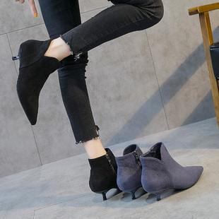 高跟短靴裸靴女秋2018小跟短靴女秋冬百搭高跟鞋低跟靴子女鞋