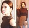 韩国露肩长袖T恤女性感上衣镂空显瘦紧身气质打底衫高领秋冬