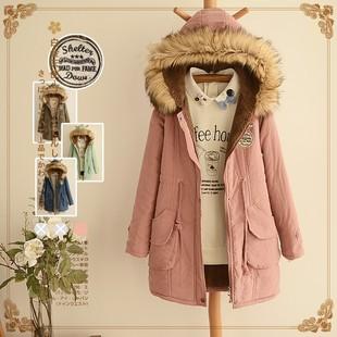 森女日系可爱2014秋冬装少女加绒加厚风衣中长款学生棉衣外套