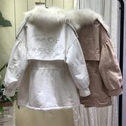 冬季宽松加绒工装bf风衣女中长款2018学生矮个子加厚外套