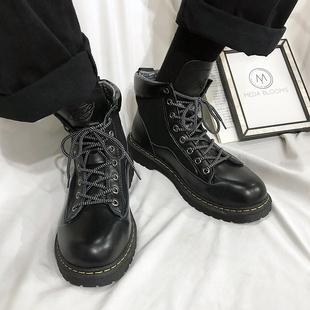 ins超火冬季款潮流工装靴男厚底加绒大头高帮皮鞋 港风马丁靴