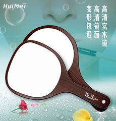 木质大号纹绣手柄镜子美容院化妆镜美容镜挂镜便捷式手抓镜手提镜
