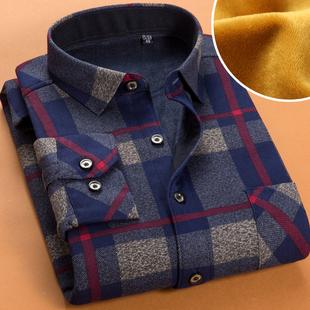 秋冬季加绒加厚商务男士保暖衬衫长袖  格子衬衣潮流寸衫