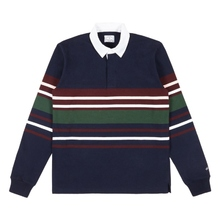 余文乐Noah Center Stripe Rugby 加厚条纹长袖Polo衫 男女