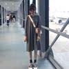 秋学院风简约宽松中长款连帽长袖纯色套头薄款卫衣学生连衣裙