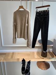 不入后悔自留三色CHAO级爱的减龄气质绞花翻边袖设计羊绒毛衣