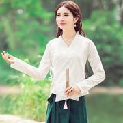 以沐凡原创设计女装改良汉服交领棉麻中国风上衣长袖衬衫大码