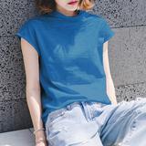 查看精选夏装半袖竹节棉t恤女短袖宽松纯棉上衣韩国小高领套头百搭打底衫最新价格
