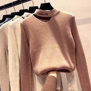 秋冬性感半高领镂空挂脖露锁骨针织衫女纯色打底衫上衣潮