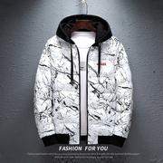 秋冬季棉衣男青少年学生潮流双面穿外套时尚迷彩棉袄