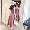 网红气质鹿皮绒连衣裙2019长袖两件套装女春吊带长裙两件套裙