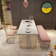 欧式原木实木椅组合小户型家用餐桌长方形6人新古典换鞋凳子