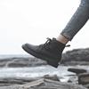 马丁靴女2018英伦风系带平底 ins冬加绒短筒短靴黑色机车靴女