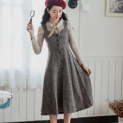 格纹连衣裙女秋冬复古文艺森系针织衫+毛呢背带裙两件套收腰