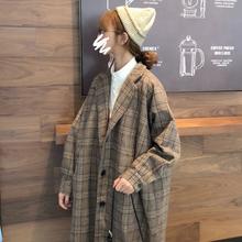 2018流行格子大衣女中长款秋冬季赫本风呢子学生毛呢外套