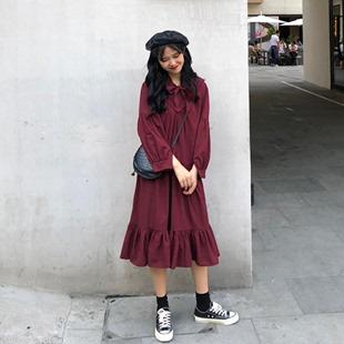 秋季女装宽松中长款系带灯笼袖A字连衣裙显瘦气质过膝长裙
