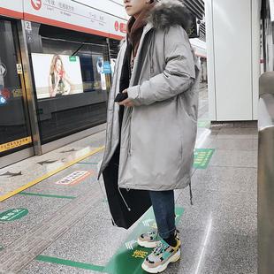 中长款棉衣男潮流外套2018棉袄潮大毛领宽松加厚冬季棉服
