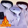 冬季男士保暖衬衣青年长袖免烫商务正装大码加绒加厚条纹衬衫