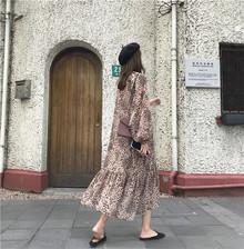 连衣裙女秋装2018复古chic豹纹荷叶边长袖雪纺裙送吊带
