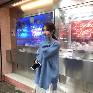 秋冬季慵懒风套头毛衣女宽松圆领长袖上衣糖果色厚针织衫外套
