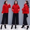 女士丝绒小棉袄小棉服短款2018大码时尚羽绒棉大红色棉衣