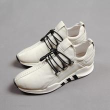 欧洲站春夏时尚潮流运动皮鞋厚底男鞋真皮内增高跑步低帮板鞋