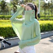 防晒披肩女夏季防紫外线开车神器遮阳护脸护颈透气薄口罩披肩一体