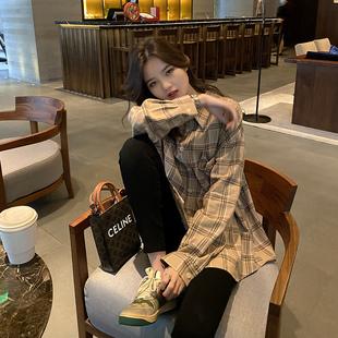 小玉酱衬衫女复古港味长袖上衣春秋2020年韩版卡其色格子衬衣