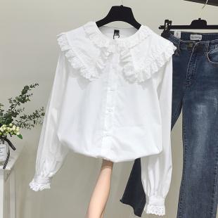 2019春装拼接木耳边长袖白色衬衫女宽松上衣大翻领娃娃衫衬衣
